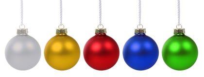 Advento colorido das quinquilharias das bolas do Natal isolado no branco Imagens de Stock