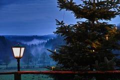 Adventsäsongbygd på natten Royaltyfria Bilder