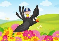 Adventure. Illustration of boy knight riding a bird Stock Images