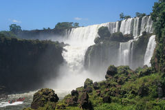Adventure. Navigating in a boat to reach some iguazu falls Royalty Free Stock Images