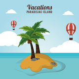 Adventure airballoons flying vacations paradisiac island Royalty Free Stock Photo