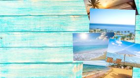 Adventure. Art background beach blank blue collage Royalty Free Stock Image