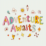 Adventure awaits. Inspirational print printable art hand drawn typography poster motivation quote Stock Image
