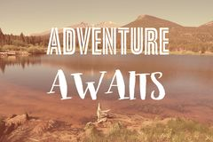Adventure awaits. Social media travel motivational poster royalty free illustration