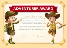 Adventure award with two children background Royalty Free Stock Photo