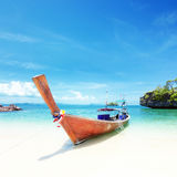 Adventure background. Wooden tourist boat on shore Stock Photography