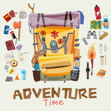 Adventure backpack with traveller objects in round frame. advent. Ure time concept. typographic wood design for header -  illustratoin Stock Photos
