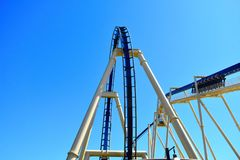 The adventure begins with calm ascent, then people will enjoy high speed ride in Montu at Bush Ga stock photos