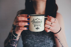 Adventure begins coffee cup Royalty Free Stock Photo