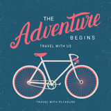 The adventure begins poster with bicycle silhouette.  Royalty Free Stock Image