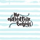 The adventure begins. Vector hand drawn illustration. Lettering The adventure begins. Idea for poster, postcard vector illustration