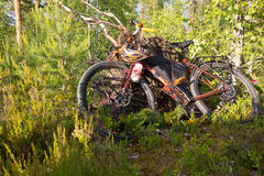 Adventure bike in the Finnish forest stock photos