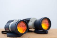 Adventure binoculars. With copy-space Royalty Free Stock Photos