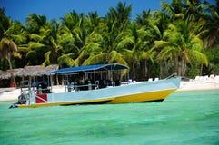 Adventure boat for scuba diving near the beach on Soana island Royalty Free Stock Photos