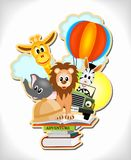 Adventure books. Wild animals, hot air balloon and car with adventure books Royalty Free Stock Images