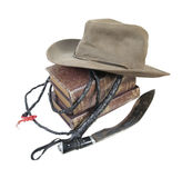 Adventure Books Aussie Hat Whip Dagger Stock Photos