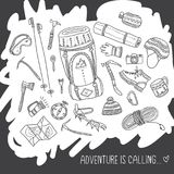 Adventure is calling card with climbing equipment. Adventure is calling card with climbing equipment in ethnic ornate style. Can be printed and used as poster Royalty Free Stock Photography