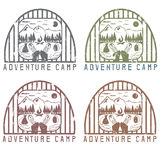 Adventure camp  elements of hiking and boots vintage grunge. Adventure camp with elements of hiking and boots vintage grunge labels set Royalty Free Stock Photos