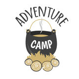Adventure Camp. Tourist camp logo. Tourist pot hanging over the fire Royalty Free Stock Photo