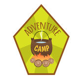 Adventure Camp. Tourist camp logo. Tourist pot hanging over the fire Stock Photography
