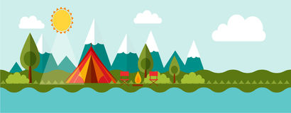 Adventure camping banner. Banner concept of outdoor isolated  advenrute camping Royalty Free Stock Image