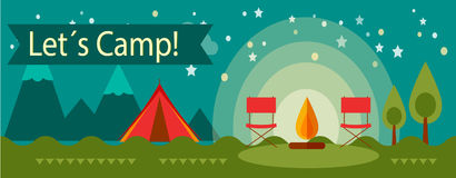 Adventure camping banner. Banner concept of outdoor isolated  advenrute camping Royalty Free Stock Photos