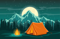 Adventure Camping Evening Scene. Family Adventure Camping Evening Scene.  Tent, Campfire, Pine forest and rocky mountains background, starry night sky with