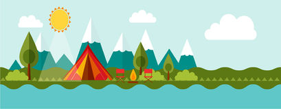 Adventure camping, tourism. Vector for your ideas Royalty Free Stock Photo