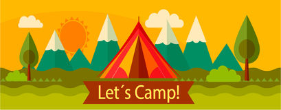 Adventure camping, tourism. Vector for your ideas Royalty Free Stock Photos