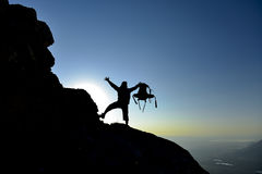 Adventure for climbers and sunrise Royalty Free Stock Photography