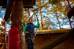 Adventure climbing high wire park - kid on course in  helmet and safety equipment Royalty Free Stock Photo