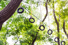 Adventure climbing high wire park Stock Images