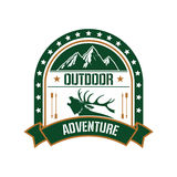 Adventure club badge design with deer and mountain Royalty Free Stock Photo