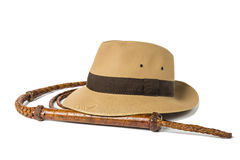 Adventure concept. Fedora hat and bullwhip isolated on white background Stock Photo