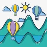 Adventure destination travel to vacation tourism. Vector illustration royalty free illustration