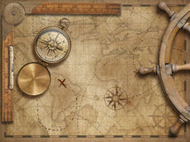 Adventure and explore concept still life with old nautical world map. Adventure and explore concept still life with old world map, ruler and steering wheel vector illustration