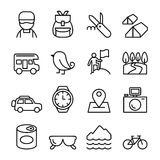 Adventure, Explorer, Discovery, Camping, Traveler, Tourism icon. Set in thin line style stock illustration