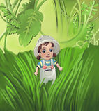 Adventure exploring toddler. In jungle Royalty Free Stock Photo