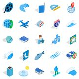 Adventure films icons set, isometric style. Adventure films icons set. Isometric set of 25 adventure films vector icons for web isolated on white background stock illustration