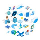 Adventure films icons set, isometric style. Adventure films icons set. Isometric set of 25 adventure films vector icons for web isolated on white background royalty free illustration