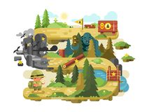 Adventure on a forest trail flat design Royalty Free Stock Photos