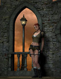 Adventure Girl. 3D rendering Adventure Girl in front of a castle wall Stock Images
