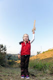 Adventure girl. Young girl playing pretend explorer adventure game outdoors. cute young child having fun stock image