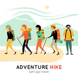 Adventure Hike Of Happy Friends Royalty Free Stock Image