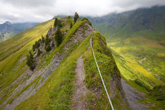 Adventure hiking trail in Swiss Alps Stock Photography