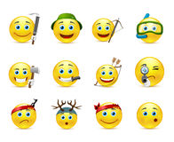 Adventure and hunting smiley icon set Royalty Free Stock Photography