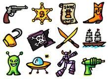 Adventure icons royalty free stock photos
