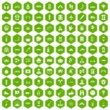 100 adventure icons hexagon green. 100 adventure icons set in green hexagon isolated vector illustration royalty free illustration