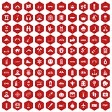 100 adventure icons hexagon red. 100 adventure icons set in red hexagon isolated vector illustration Royalty Free Stock Photo