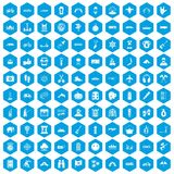100 adventure icons set blue. 100 adventure icons set in blue hexagon isolated vector illustration vector illustration
